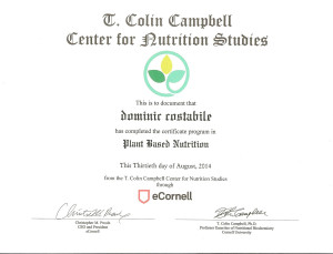 Certificate in Plant Based Nutrition - Dominic Costabile
